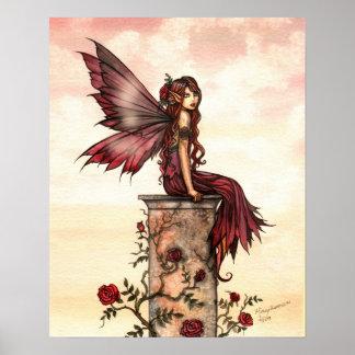 Scarlet Rose Fairy Fantasy Art Poster