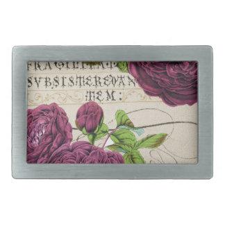 Scarlet Rose Manuscript Collage Rectangular Belt Buckle