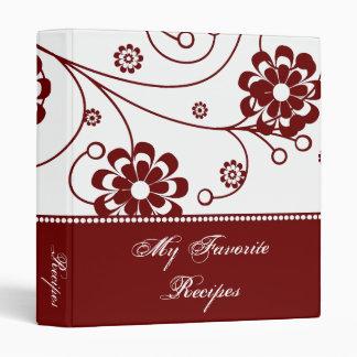 Scarlet Scroll Blooms Recipe Book 3 Ring Binder