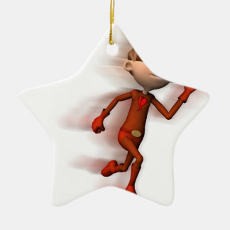 Scarlet Speedster Double-Sided Star Ceramic Christmas Ornament