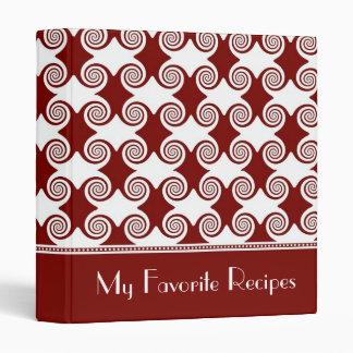 Scarlet Swirls Recipe Book Binder