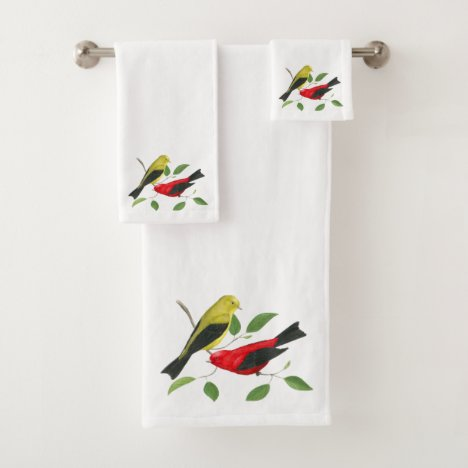 Scarlet Tanager Bird Art Bath Towel Set