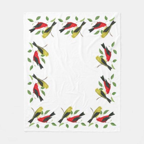 Scarlet Tanager Bird Art Fleece Blanket