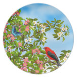 Scarlet Tanager in Apple Blossoms Plate