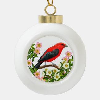 Scarlet Tanager in Christmas Rose Flowers Ornament