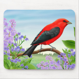 Scarlet Tanager in Garden Flowers Mousepad