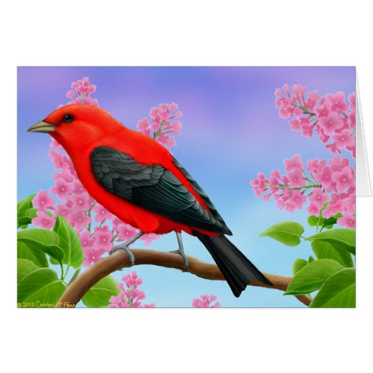 Scarlet Tanager in Lilac Flowers Card