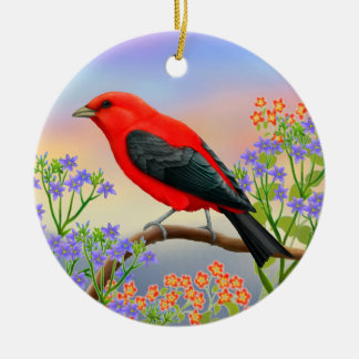 Scarlet Tanager in Wildflowers Ornament