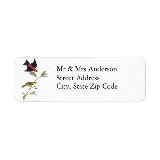 Scarlet Tanager - John James Audubon Custom Return Address Label