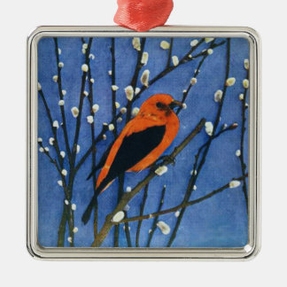 Scarlet Tanager Christmas Tree Ornaments