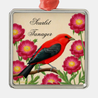 Scarlet Tanager Red Bird Christmas Ornament