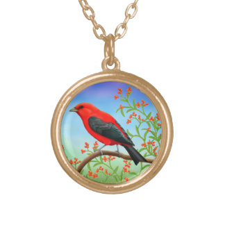 Scarlet Tanager Red Bird Necklace