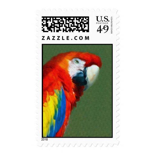 Scarlett Macaw Stamps