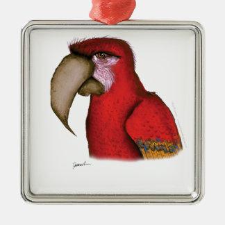 scarlett macaw, tony fernandes metal ornament