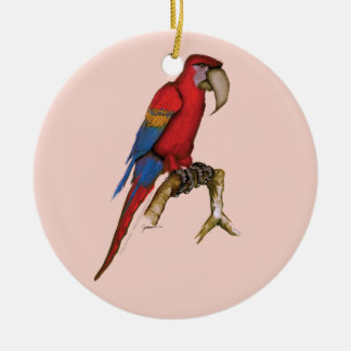 scarlett macaw, tony fernandes.tif ceramic ornament