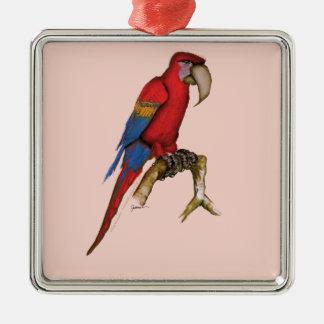 scarlett macaw, tony fernandes.tif metal ornament