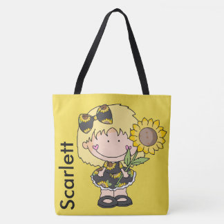 Scarlett's Personalized Sunflower Tote Bag