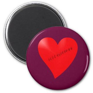 Scarred corazón de cicatriz heart iman para frigorífico