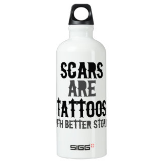 Scars are Tattoos Aluminum Water Bottle