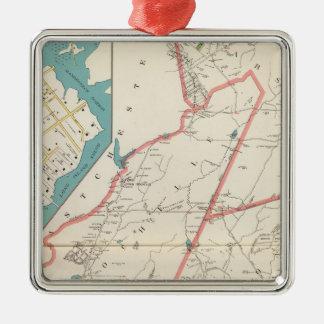 Scarsdale, New Rochelle, ciudades de Mamaroneck Adorno Cuadrado Plateado