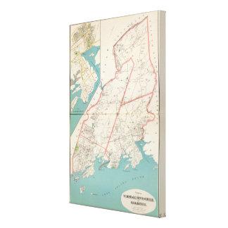 Scarsdale, New Rochelle, ciudades de Mamaroneck Impresión En Lona