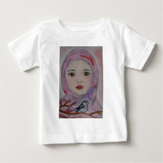 scarved girl with colorfull veil  bird mulicolor baby T-Shirt