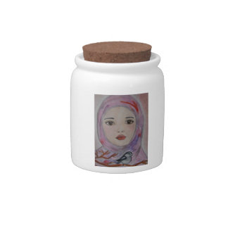 scarved girl with colorfull veil  bird mulicolor candy jars