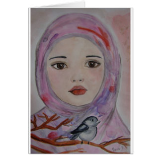 scarved girl with colorfull veil  bird mulicolor greeting cards