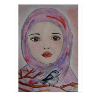 scarved girl with colorfull veil  bird mulicolor postcards