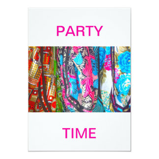 Scarves in Bright Colours Party Time Invitation