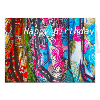 Scarves in Multi colours Happy Birthday Card