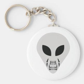 scary alien head basic round button keychain