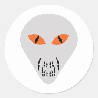 scary alien head classic round sticker