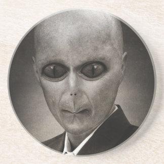 Scary alien portrait drink coaster