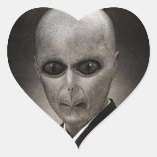 Scary alien portrait heart sticker
