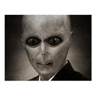 Scary alien portrait postcard