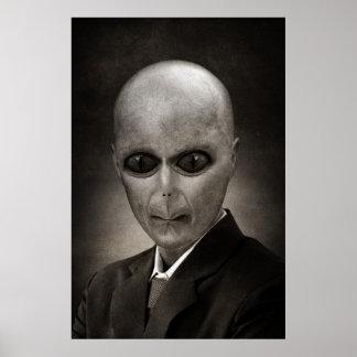 Scary alien portrait poster