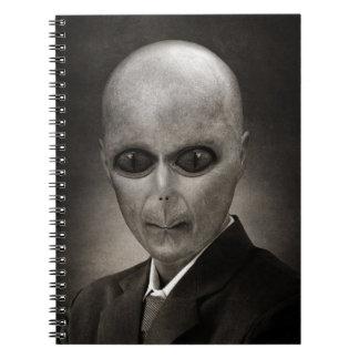 Scary alien portrait spiral notebook