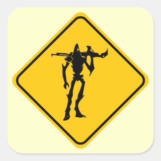 Scary Alien Square Sticker