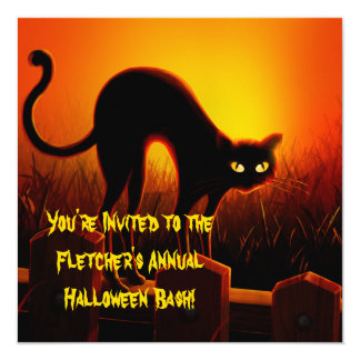 "Scary Arched Black Cat Halloween Invitation 5.25"" Square Invitation Card"