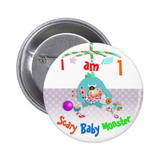 Scary baby monster. pinback button