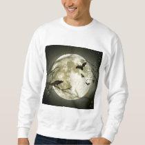 Scary Bat Moon Night Autumn Fall Pumpkin Vines Sweatshirt