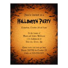 Scary Bats Dark Frame Halloween Party Invitation at Zazzle