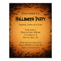 Scary bats dark frame Halloween party invitation
