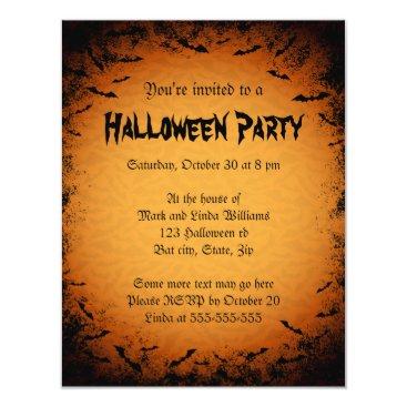 TheStationeryShop Scary bats dark frame Halloween party invitation