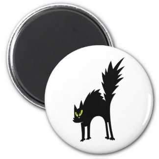SCARY BLACK CAT CARTOON GREEN EYES LOGO ICON PETS 2 INCH ROUND MAGNET