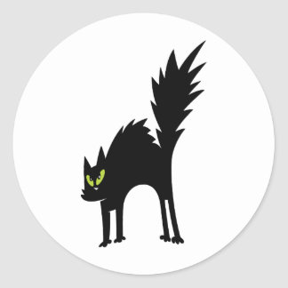 SCARY BLACK CAT CARTOON GREEN EYES LOGO ICON PETS CLASSIC ROUND STICKER