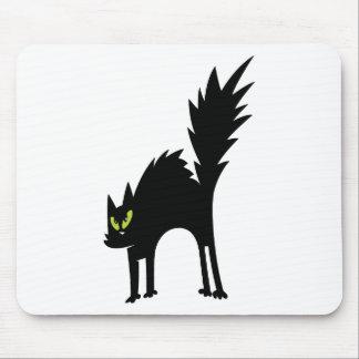 SCARY BLACK CAT CARTOON GREEN EYES LOGO ICON PETS MOUSEPAD