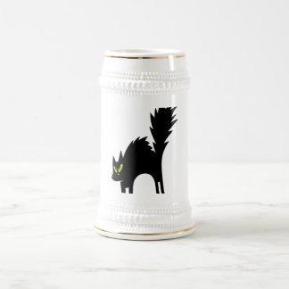 SCARY BLACK CAT CARTOON GREEN EYES LOGO ICON PETS COFFEE MUGS