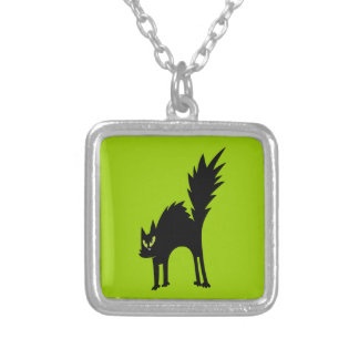SCARY BLACK CAT CARTOON GREEN EYES LOGO ICON PETS SILVER PLATED NECKLACE